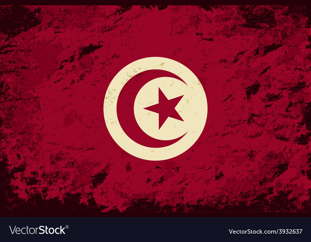 Tunisian flag grunge background vector | Price: 1 Credit (USD $1)