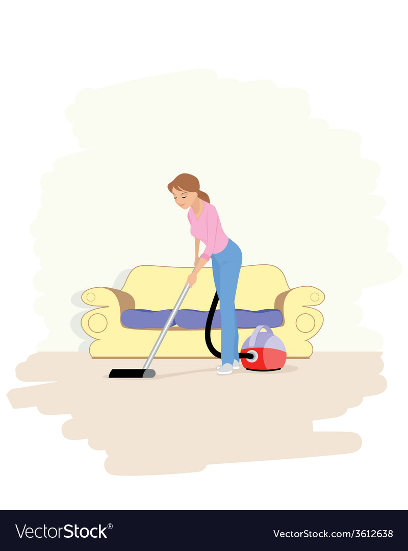A girl with hoover vector | Price: 1 Credit (USD $1)