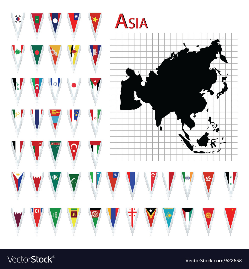 Asia flags and map vector