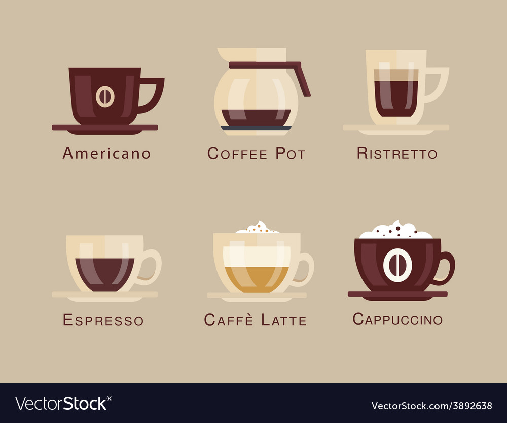 Coffee icon set menu coffee beverages types vector | Price: 1 Credit (USD $1)