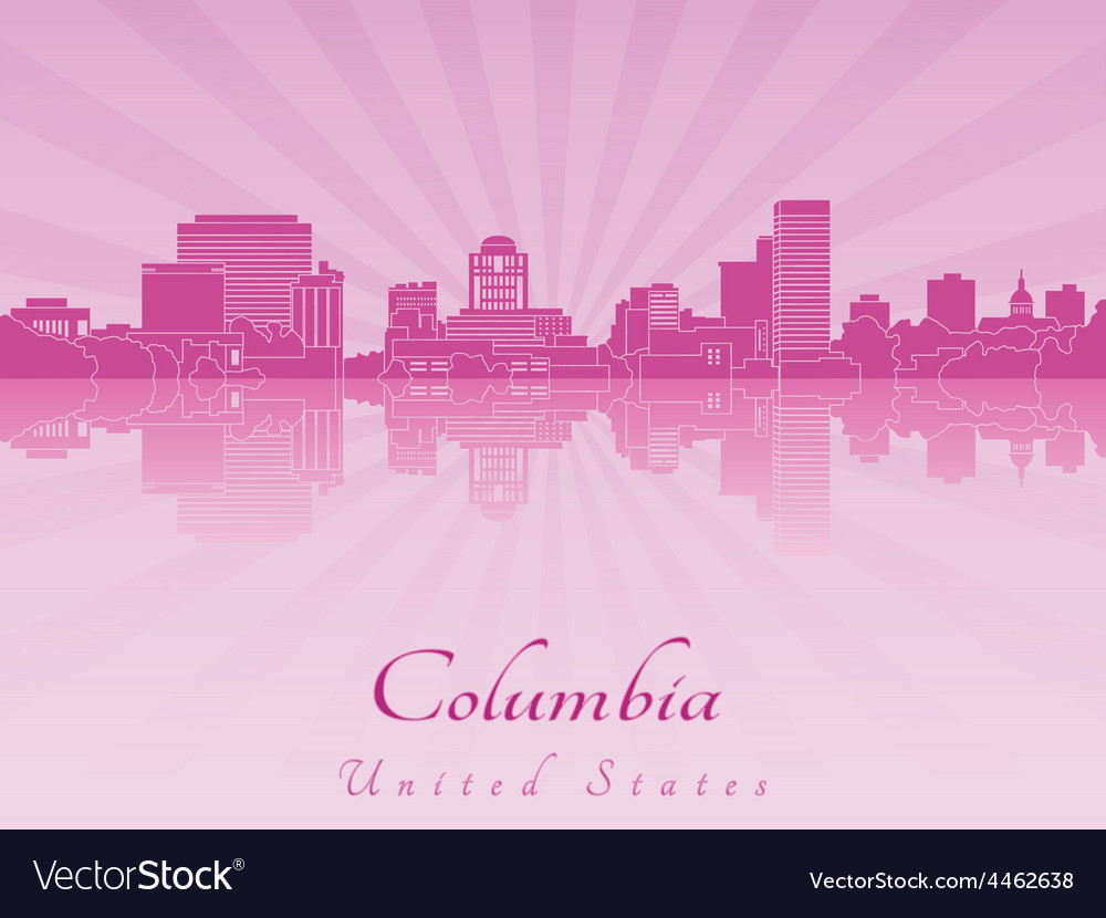 Columbia skyline in purple radiant orchid vector