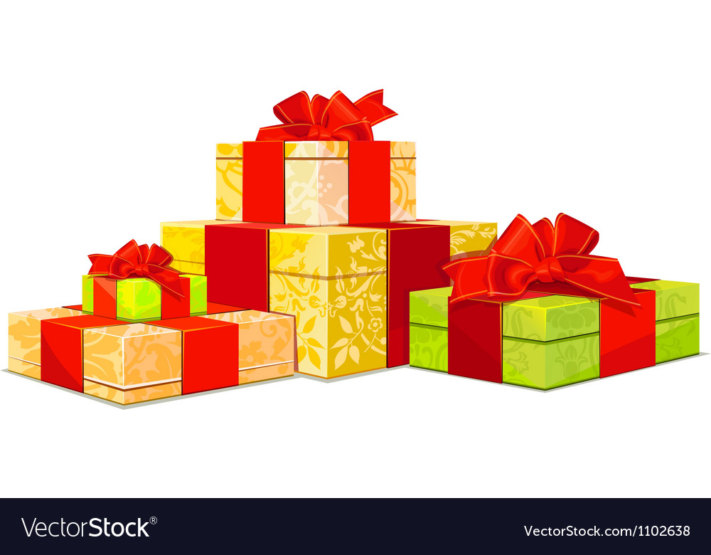 Four colorful gift box on white background vector | Price: 1 Credit (USD $1)