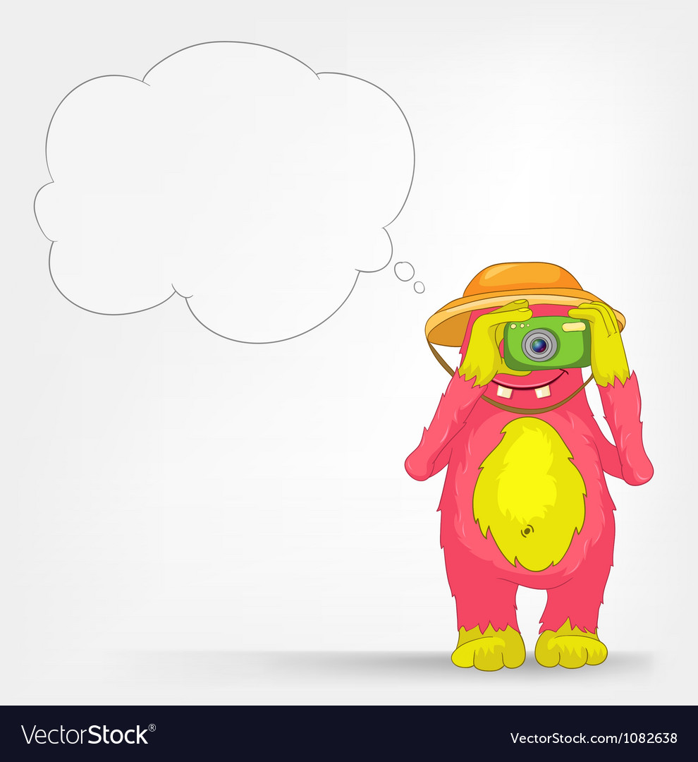 Funny monster tourist photographer vector | Price: 1 Credit (USD $1)