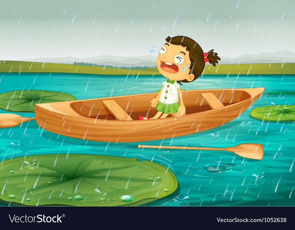 Girl and boat vector | Price: 3 Credit (USD $3)