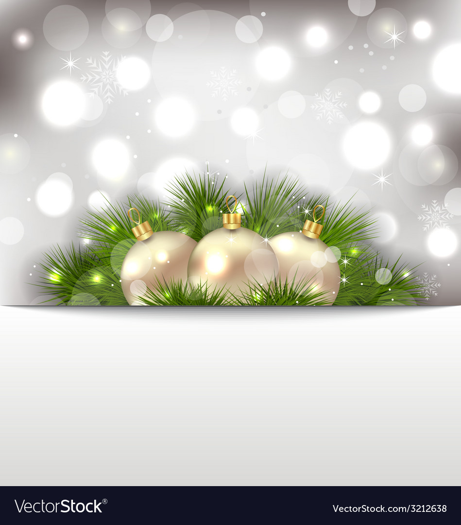 Merry christmas postcard with fir branches and vector   Price: 1 Credit (USD $1)