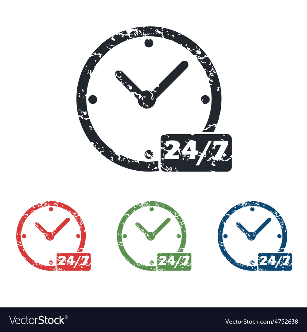 Overnight daily grunge icon set vector   Price: 1 Credit (USD $1)