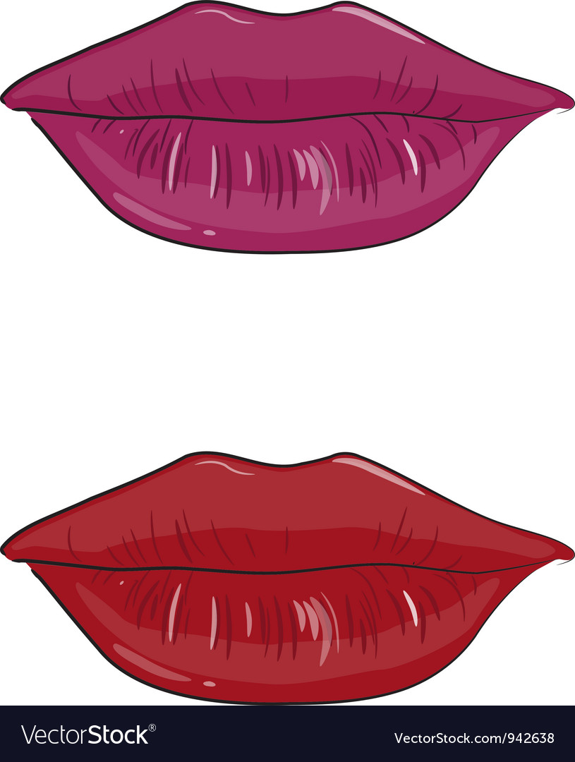 Pink and red lips vector | Price: 1 Credit (USD $1)