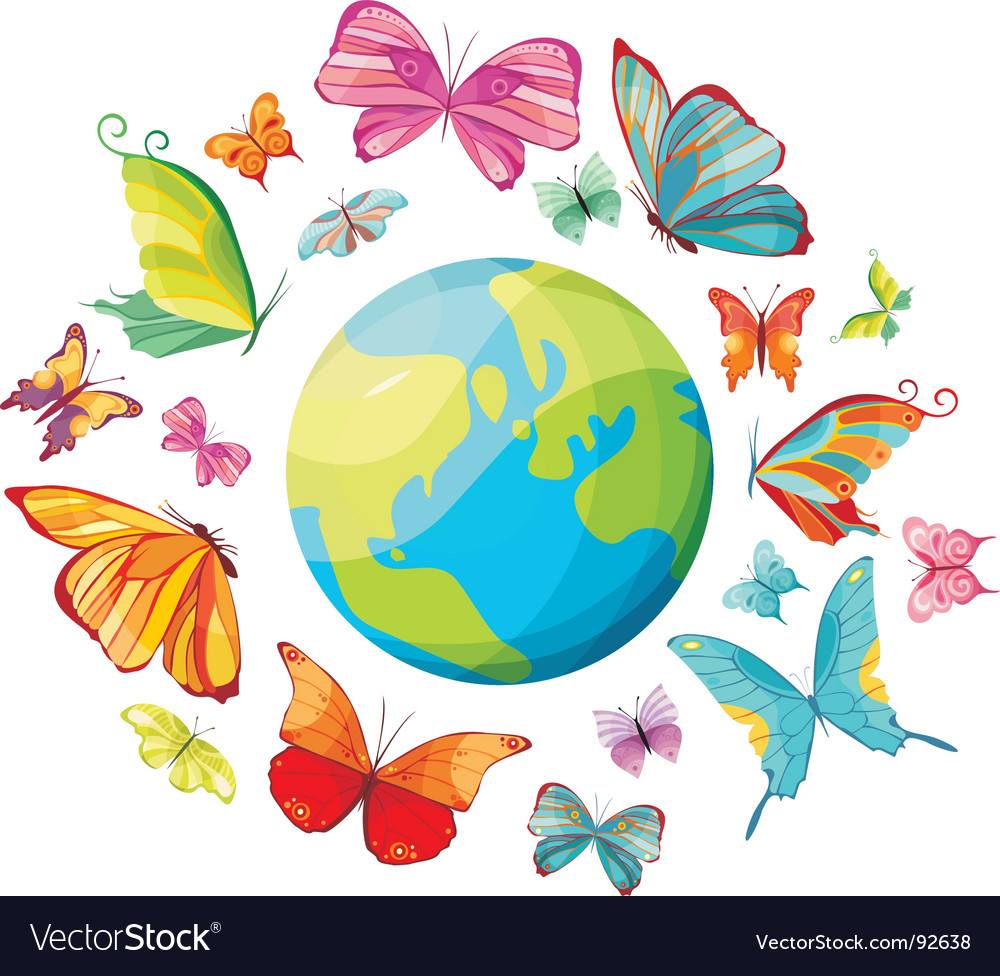 Planet of butterflies vector | Price: 1 Credit (USD $1)