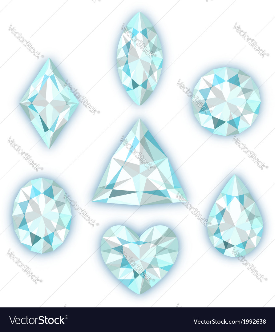 Set of diamonds isolated on white vector | Price: 1 Credit (USD $1)
