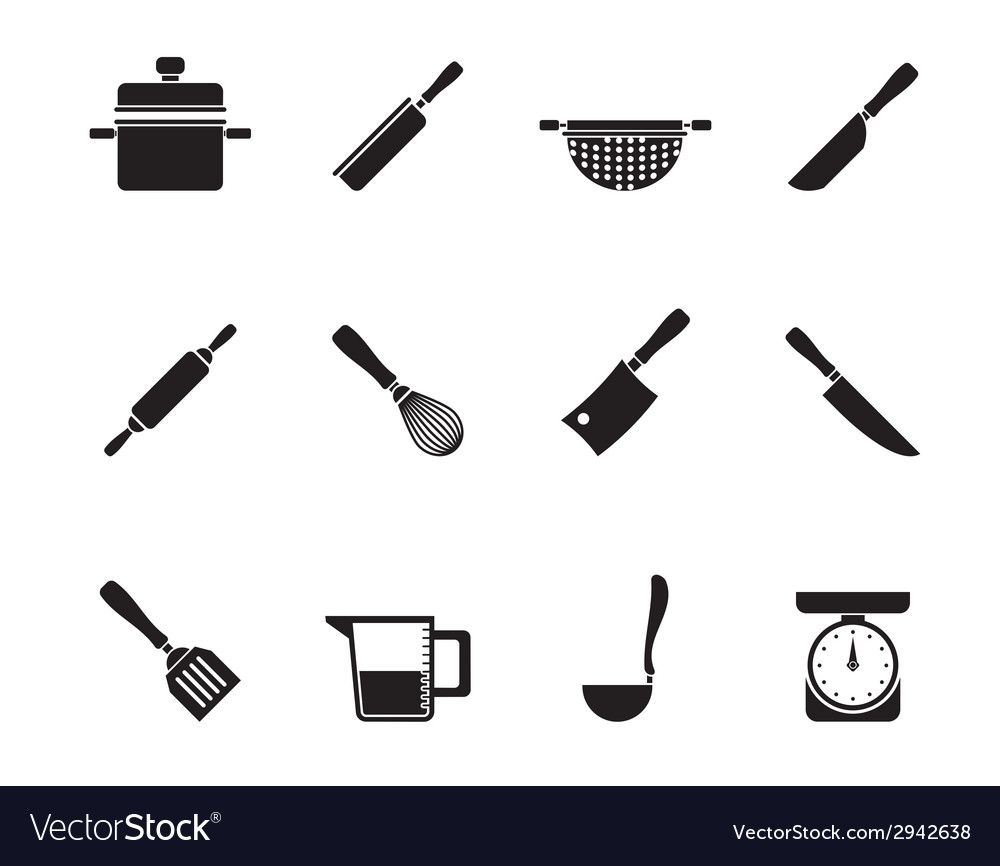 Silhouette cooking equipment and tools icons vector | Price: 1 Credit (USD $1)