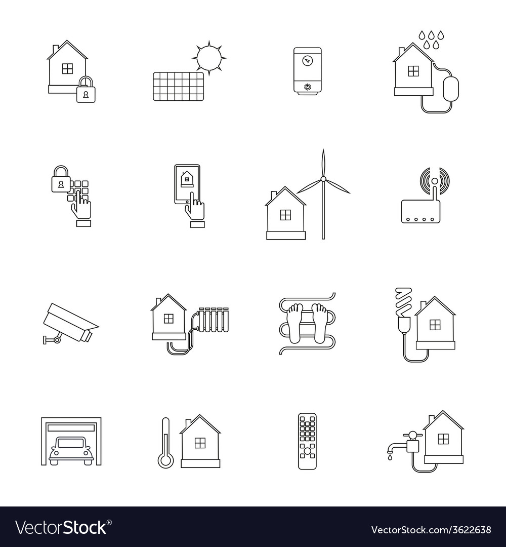 Smart home icon outline vector | Price: 1 Credit (USD $1)