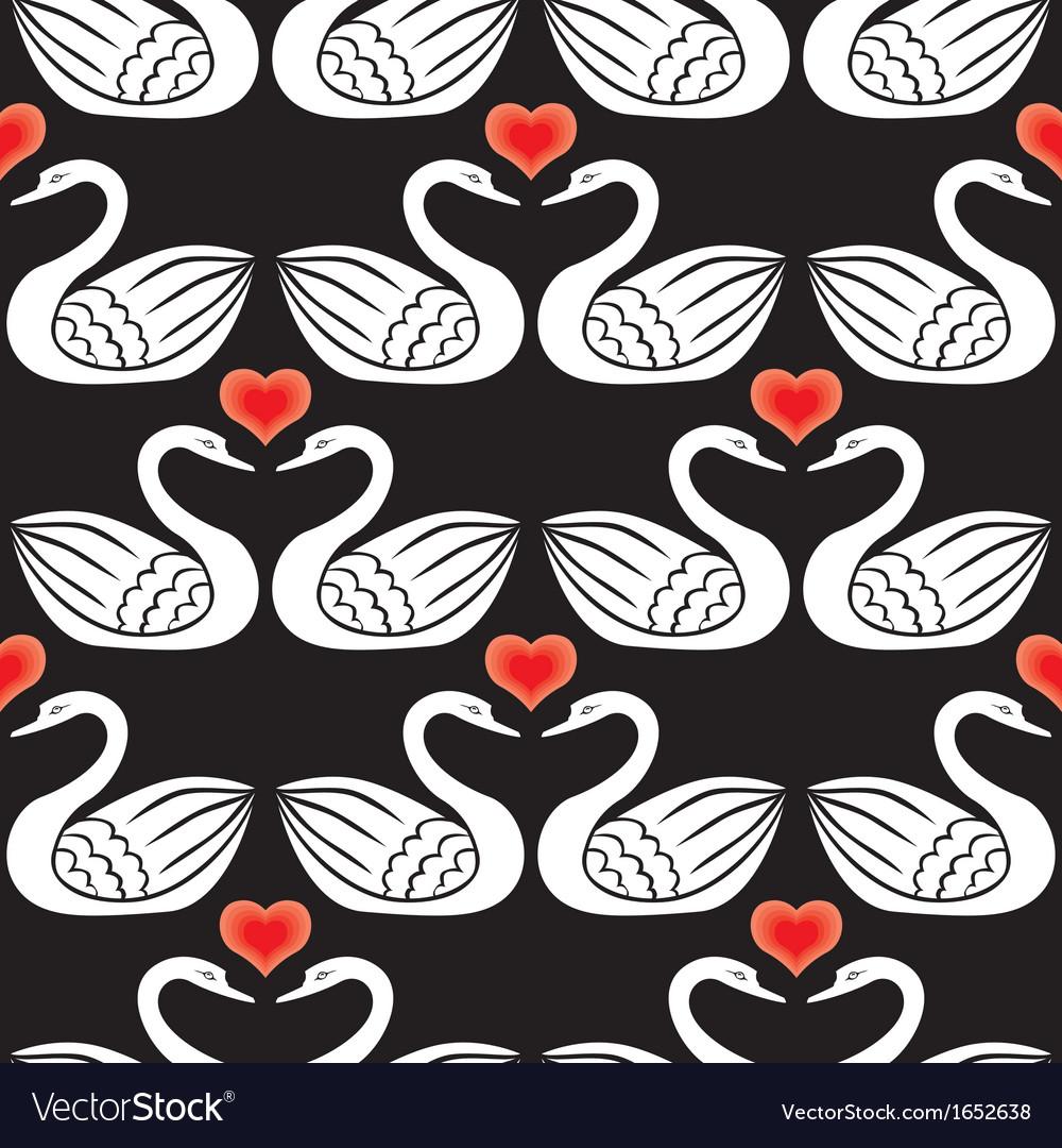 Swan pattern black vector | Price: 1 Credit (USD $1)