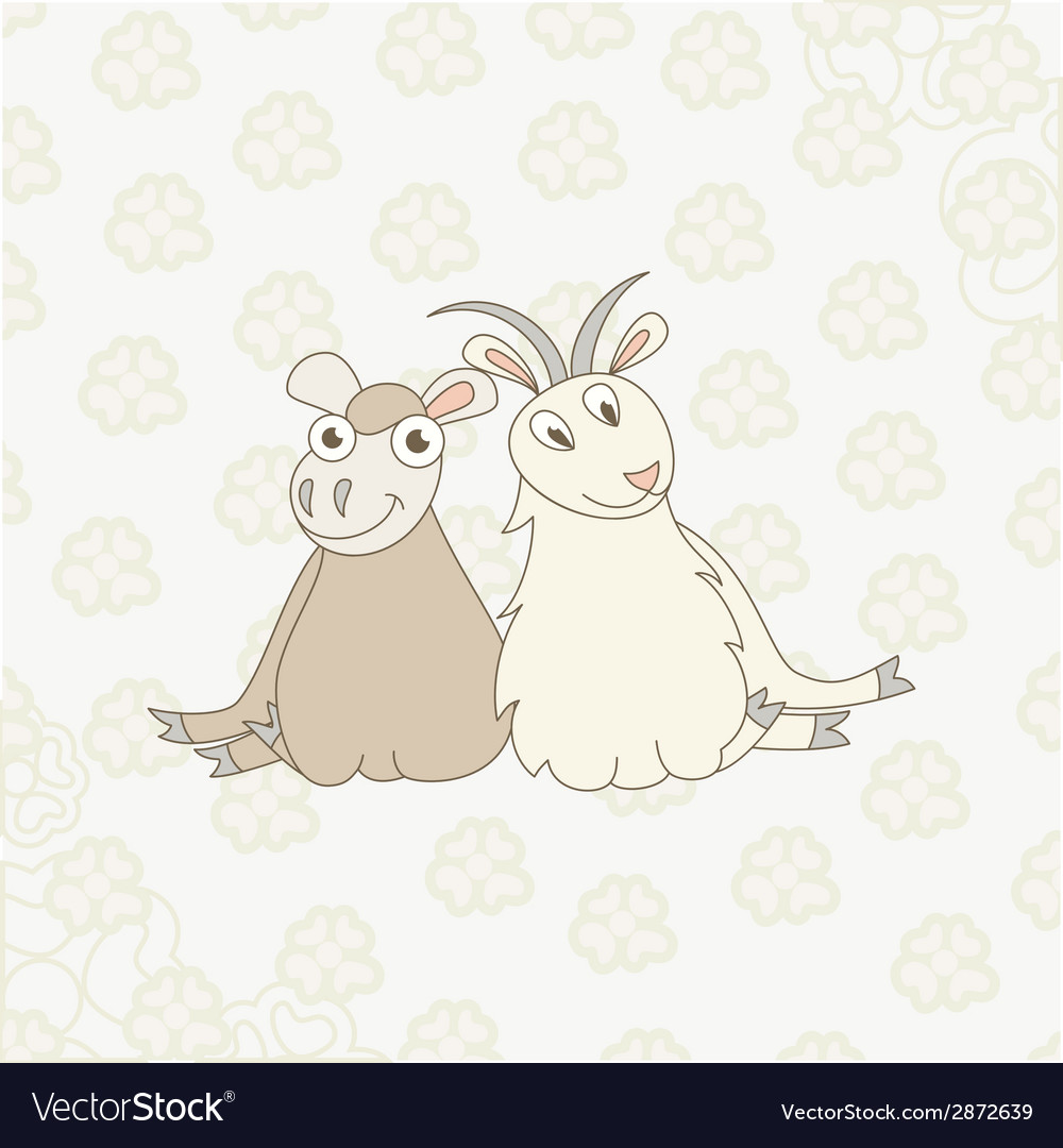 Cartoon sheep and goat on floral background vector | Price: 1 Credit (USD $1)