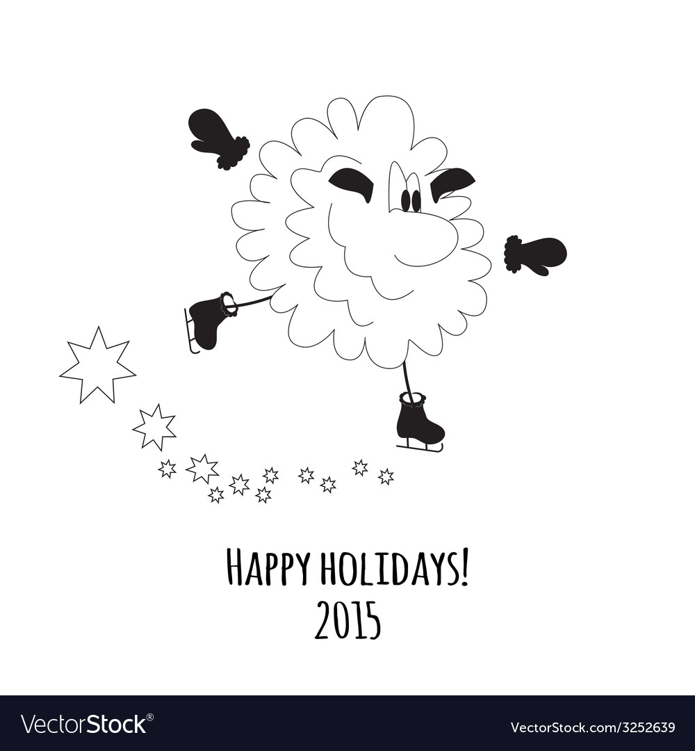 Cartoon sheep on skates vector | Price: 1 Credit (USD $1)