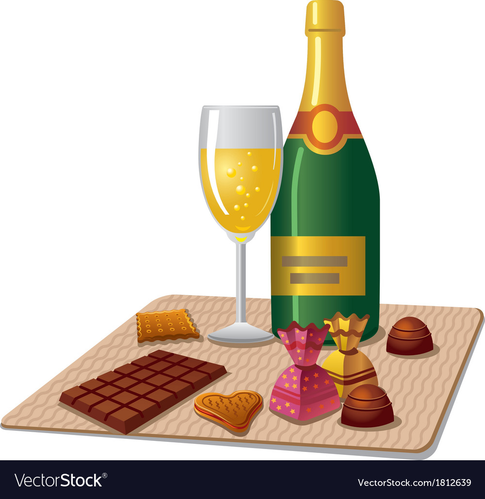Champagne and candy vector | Price: 1 Credit (USD $1)