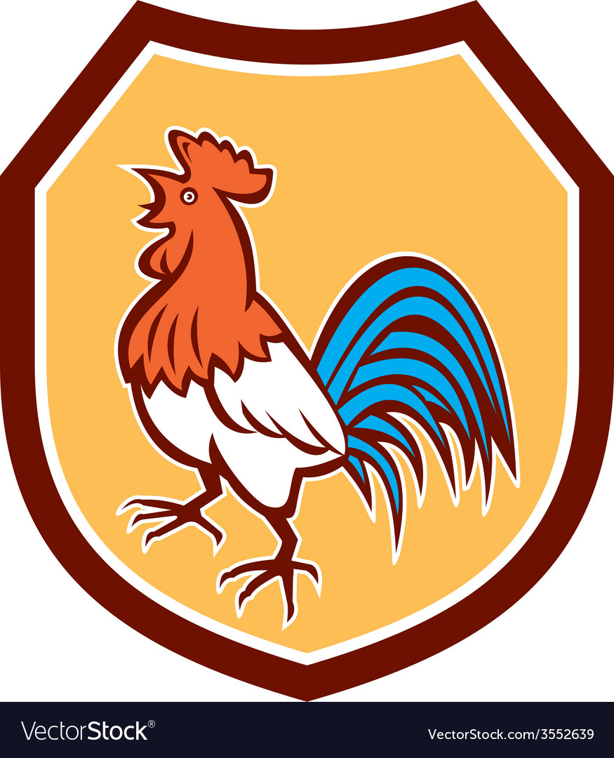 Chicken rooster crowing looking up shield retro vector   Price: 1 Credit (USD $1)