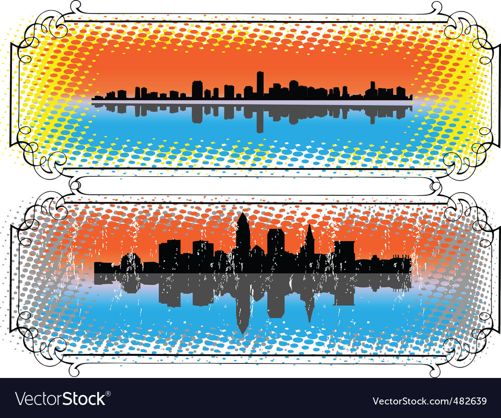City skyline and silhouettes vector | Price: 1 Credit (USD $1)