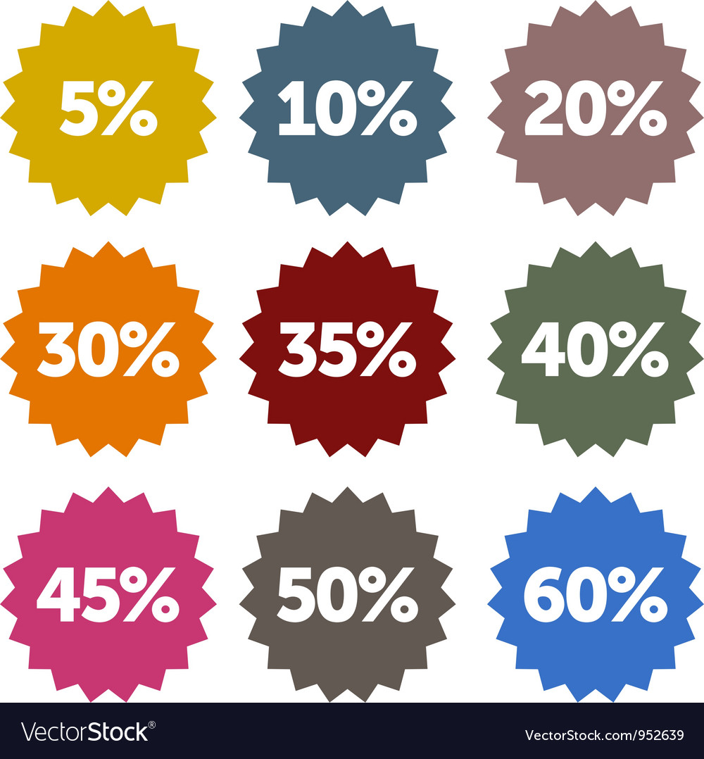 Discount stars set vector | Price: 1 Credit (USD $1)