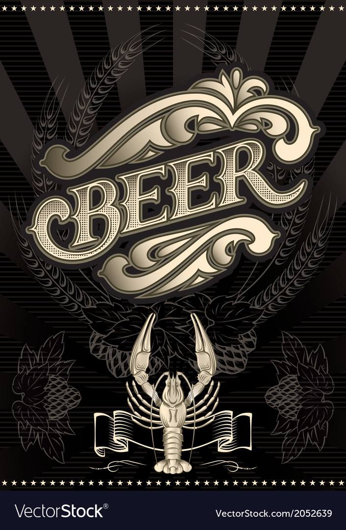 Glass of beer on a black background for the menu vector | Price: 1 Credit (USD $1)