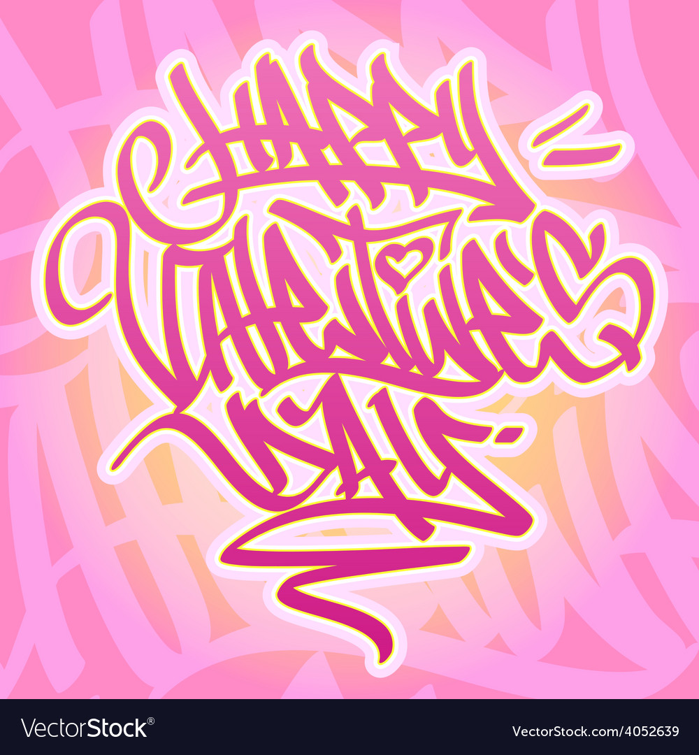 Happy valentines day graffiti card vector | Price: 1 Credit (USD $1)