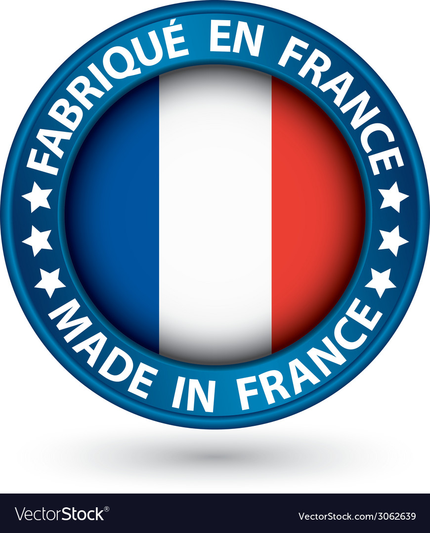 Made in france blue label with flag vector