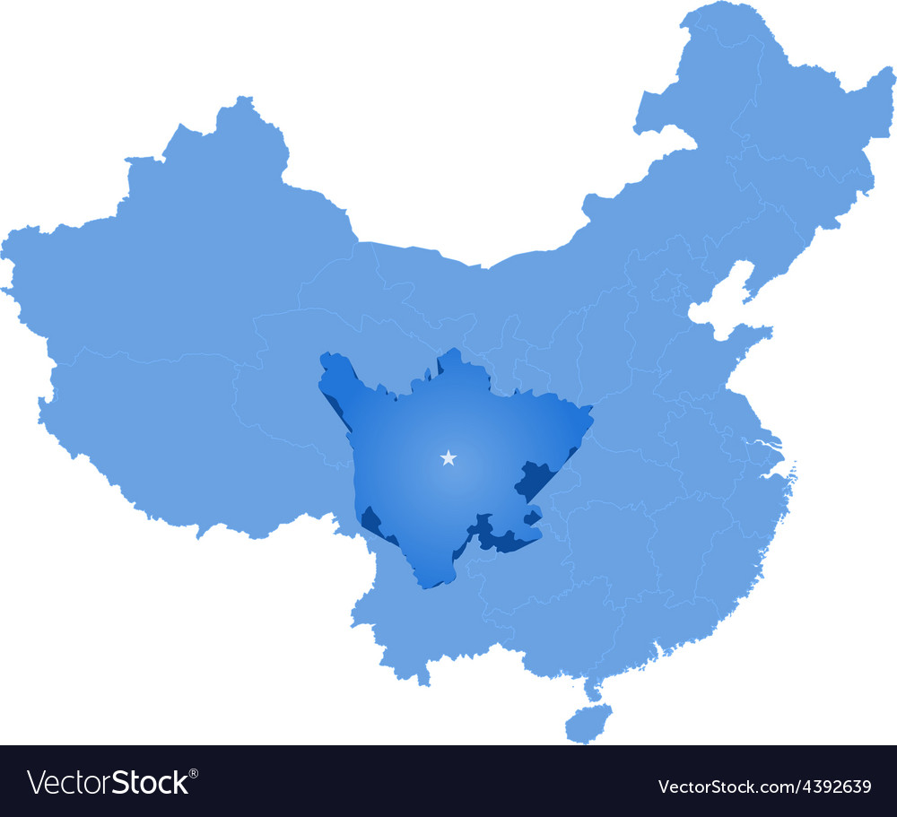 Map of peoples republic of china - sichuan vector | Price: 1 Credit (USD $1)