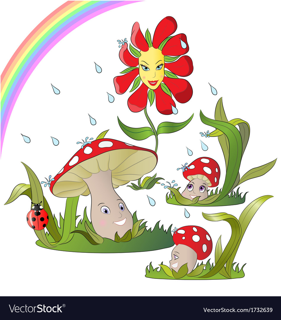 Mushroom family in rain vector | Price: 1 Credit (USD $1)