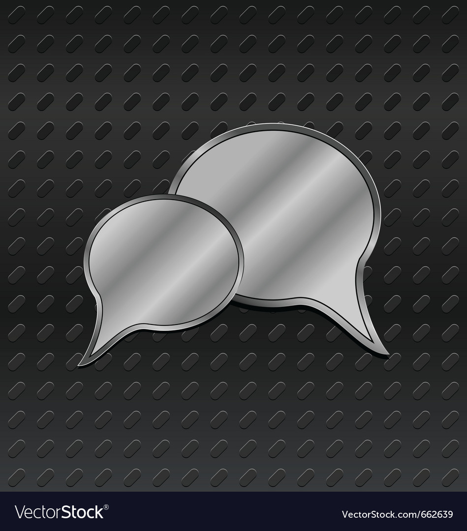 Shiny metallic speech bubbles on aluminum backgrou vector | Price: 1 Credit (USD $1)