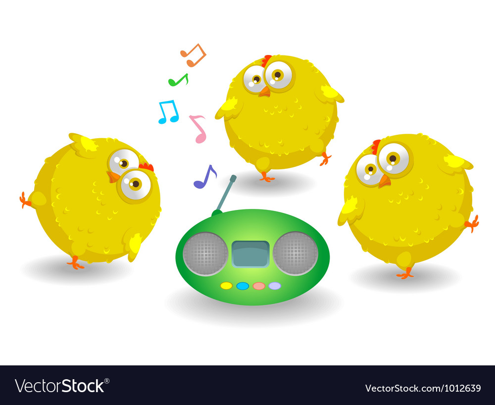 Three funny chicken dance vector | Price: 1 Credit (USD $1)