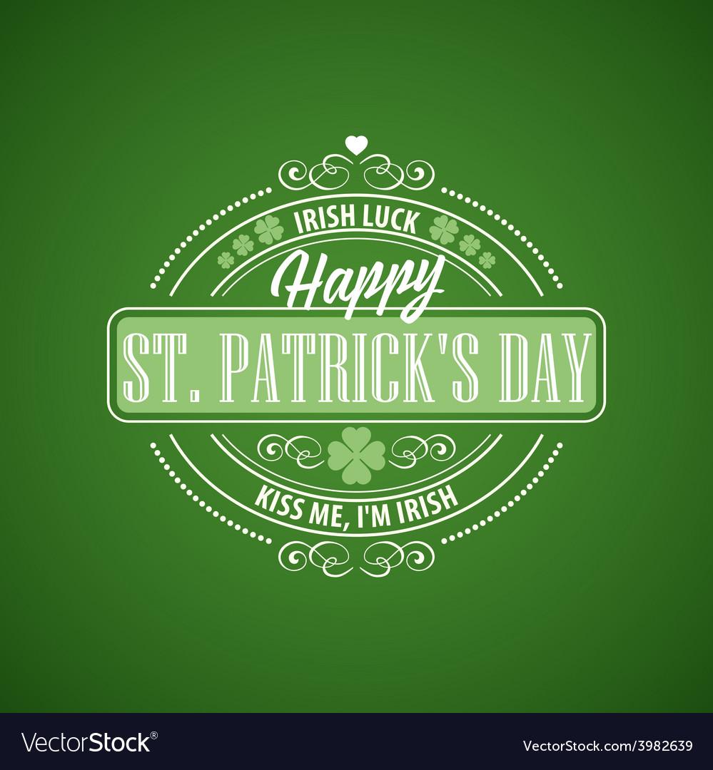 Typography st patricks day vector | Price: 1 Credit (USD $1)
