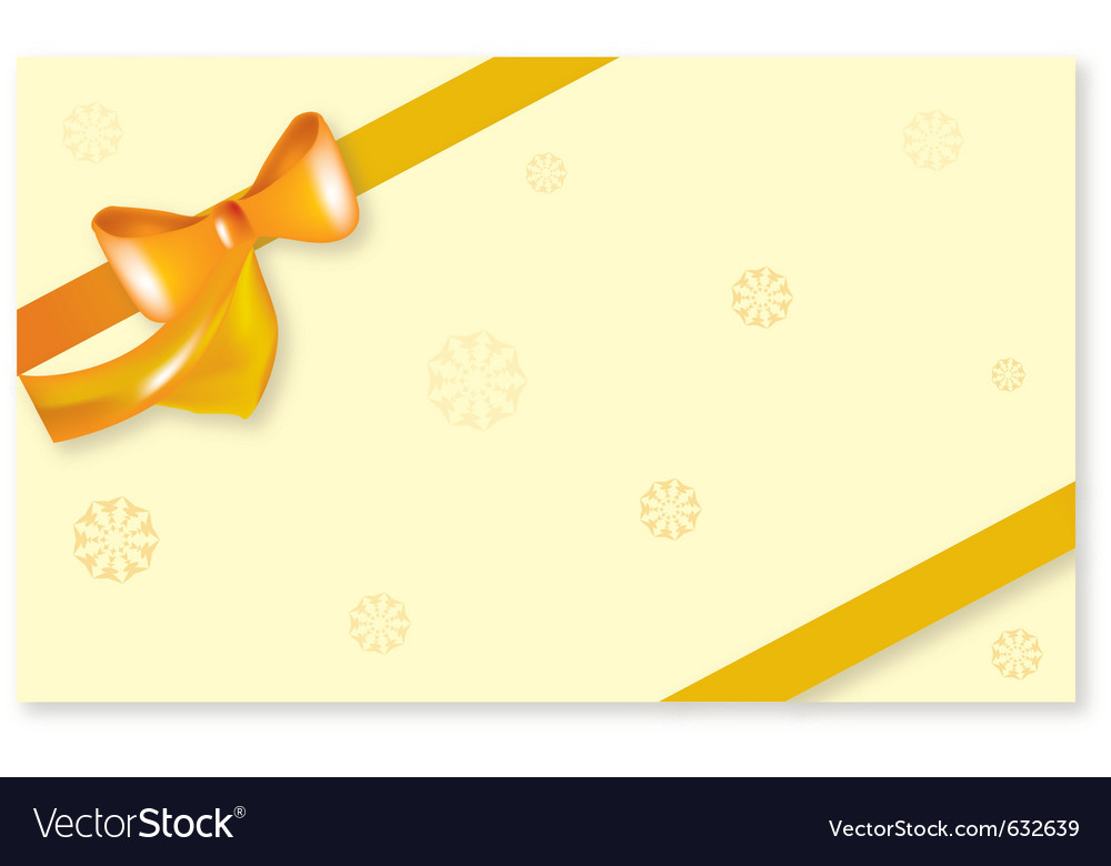 Yellow bow ribbon with snowflake vector | Price: 1 Credit (USD $1)