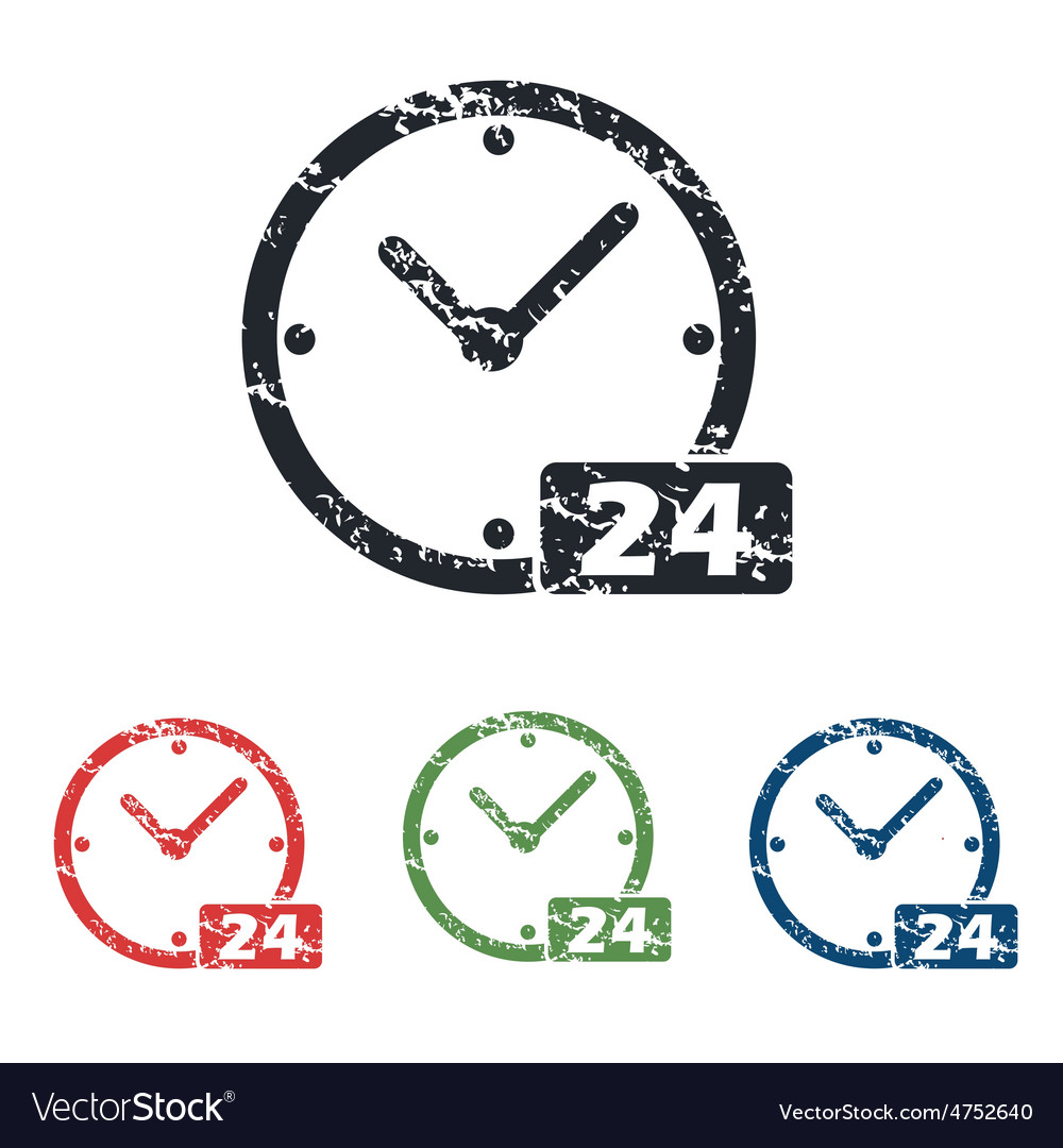 24 workhours grunge icon set vector | Price: 1 Credit (USD $1)