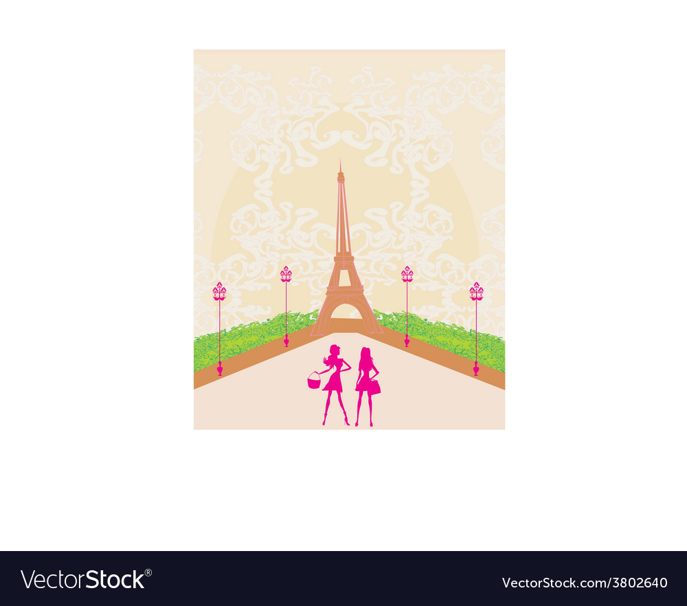Beautiful girls shopping in paris vector | Price: 1 Credit (USD $1)