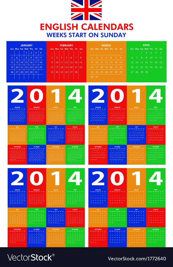Calendar 2014 starts sunday vector   Price: 1 Credit (USD $1)