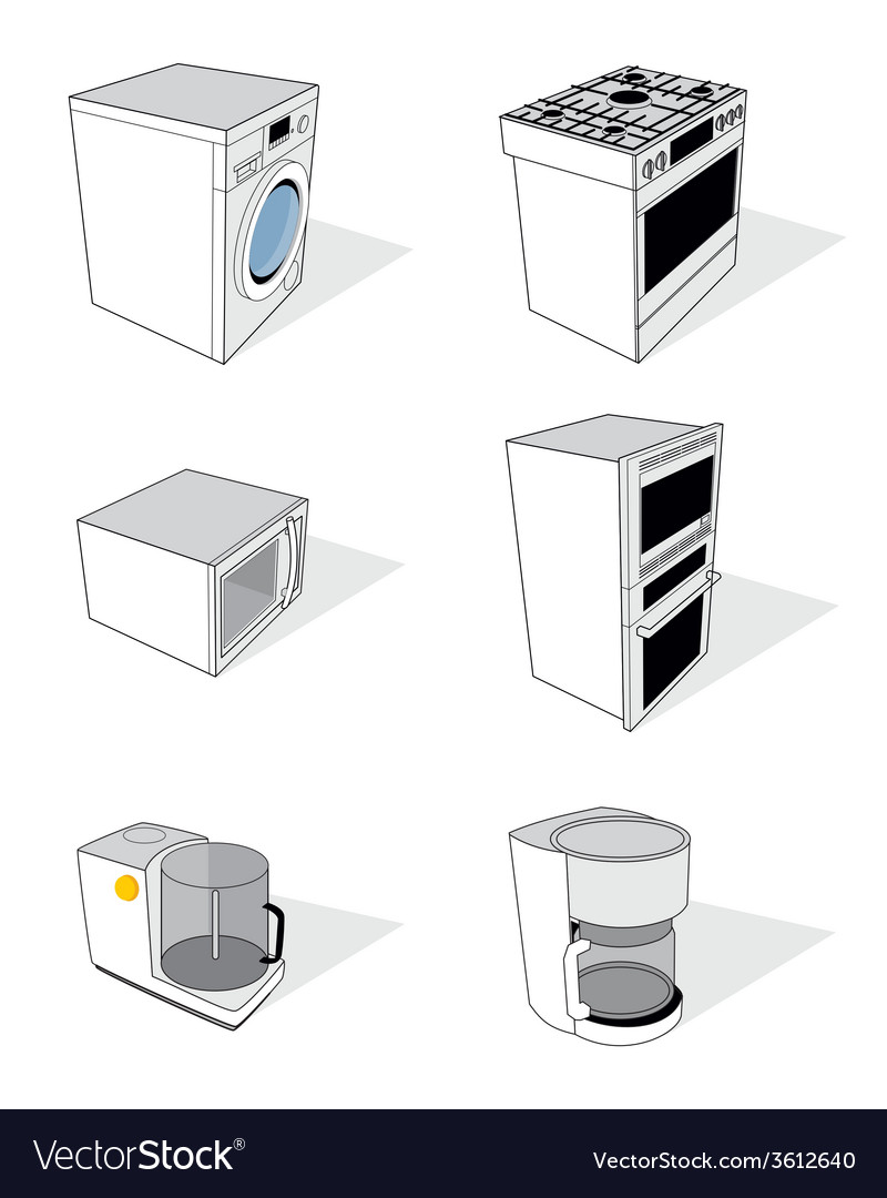 Household appliances set vector | Price: 1 Credit (USD $1)