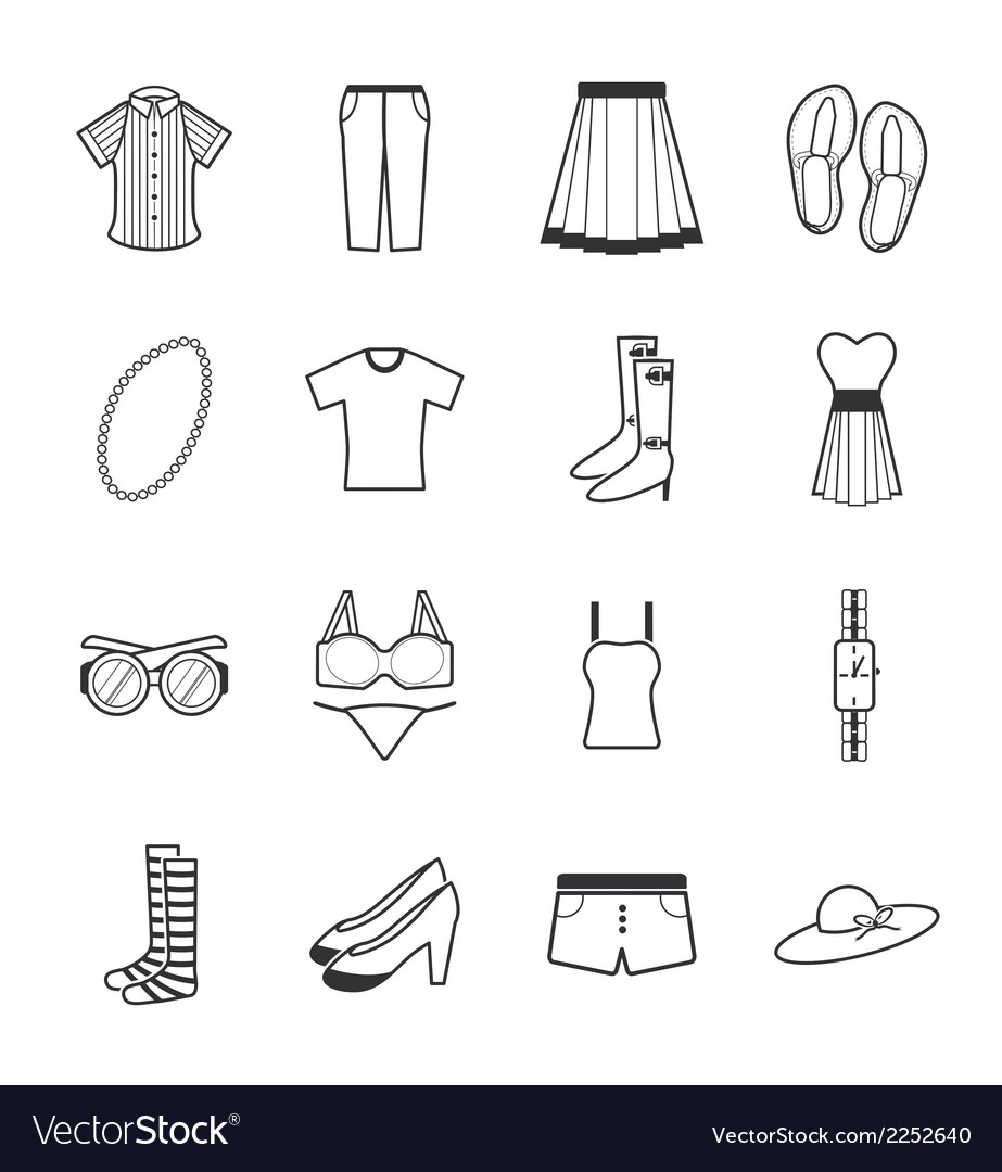 Lady clothes icons vector | Price: 1 Credit (USD $1)