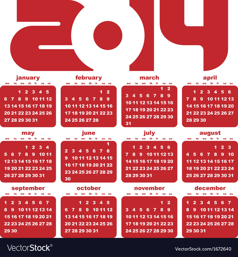 New year 2014 calendar vector | Price: 1 Credit (USD $1)