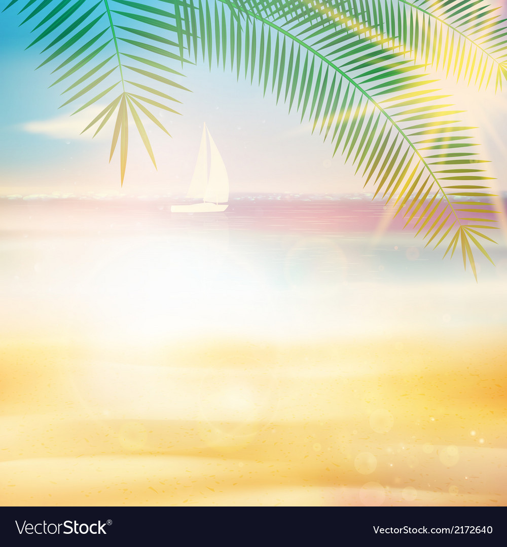 Ocean view from beach with retro look vector | Price: 1 Credit (USD $1)