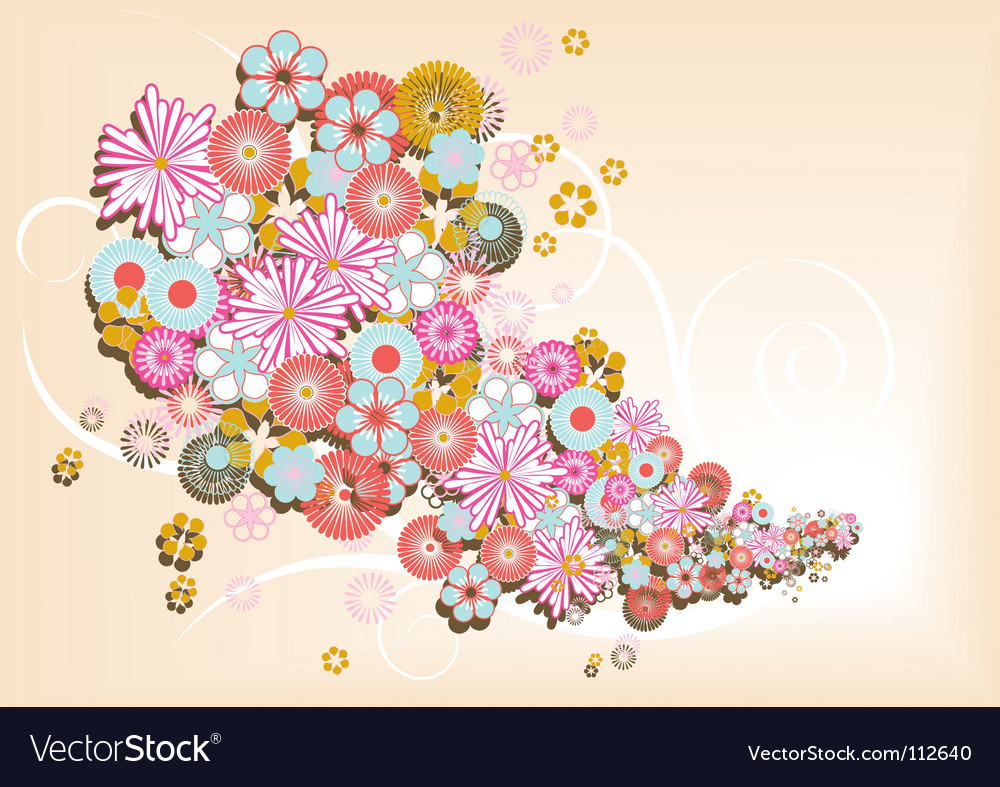 Retro flower background vector | Price: 1 Credit (USD $1)