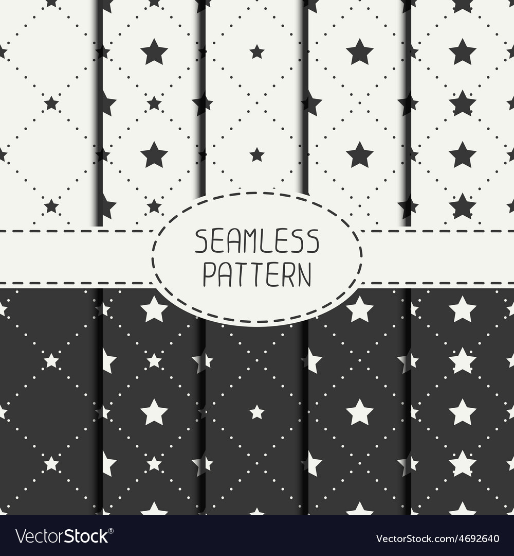 Set of geometric seamless stars pattern vector | Price: 1 Credit (USD $1)
