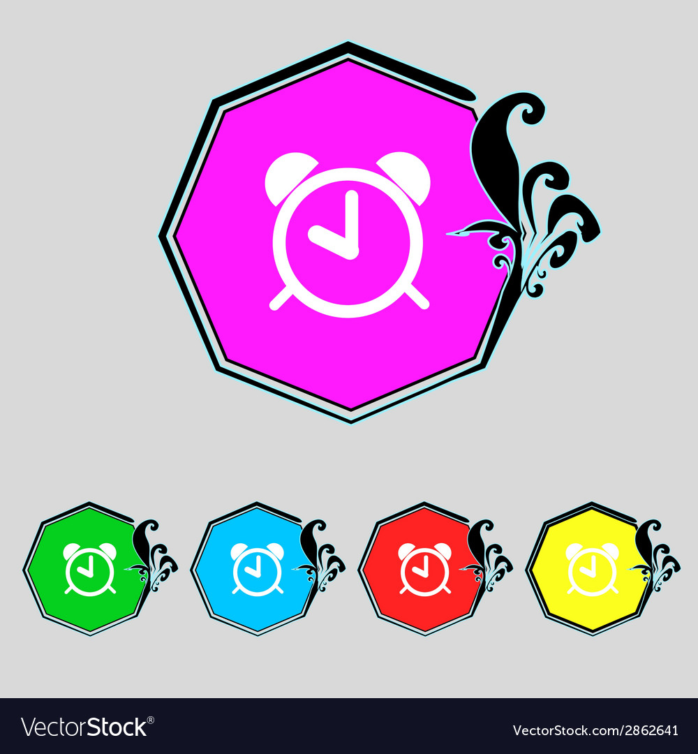Alarm clock sign icon wake up alarm symbol set vector   Price: 1 Credit (USD $1)