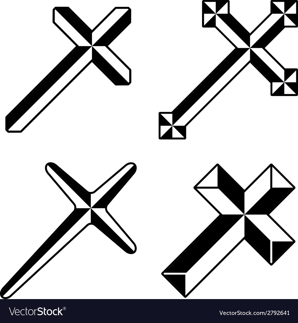 Black christian crosses vector | Price: 1 Credit (USD $1)