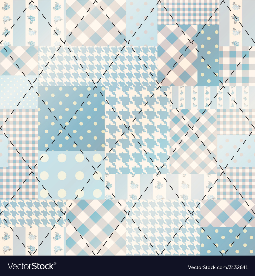 Blue patchwork with diagonal stitch vector | Price: 1 Credit (USD $1)