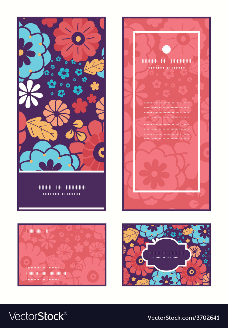 Colorful bouquet flowers vertical frame vector | Price: 1 Credit (USD $1)