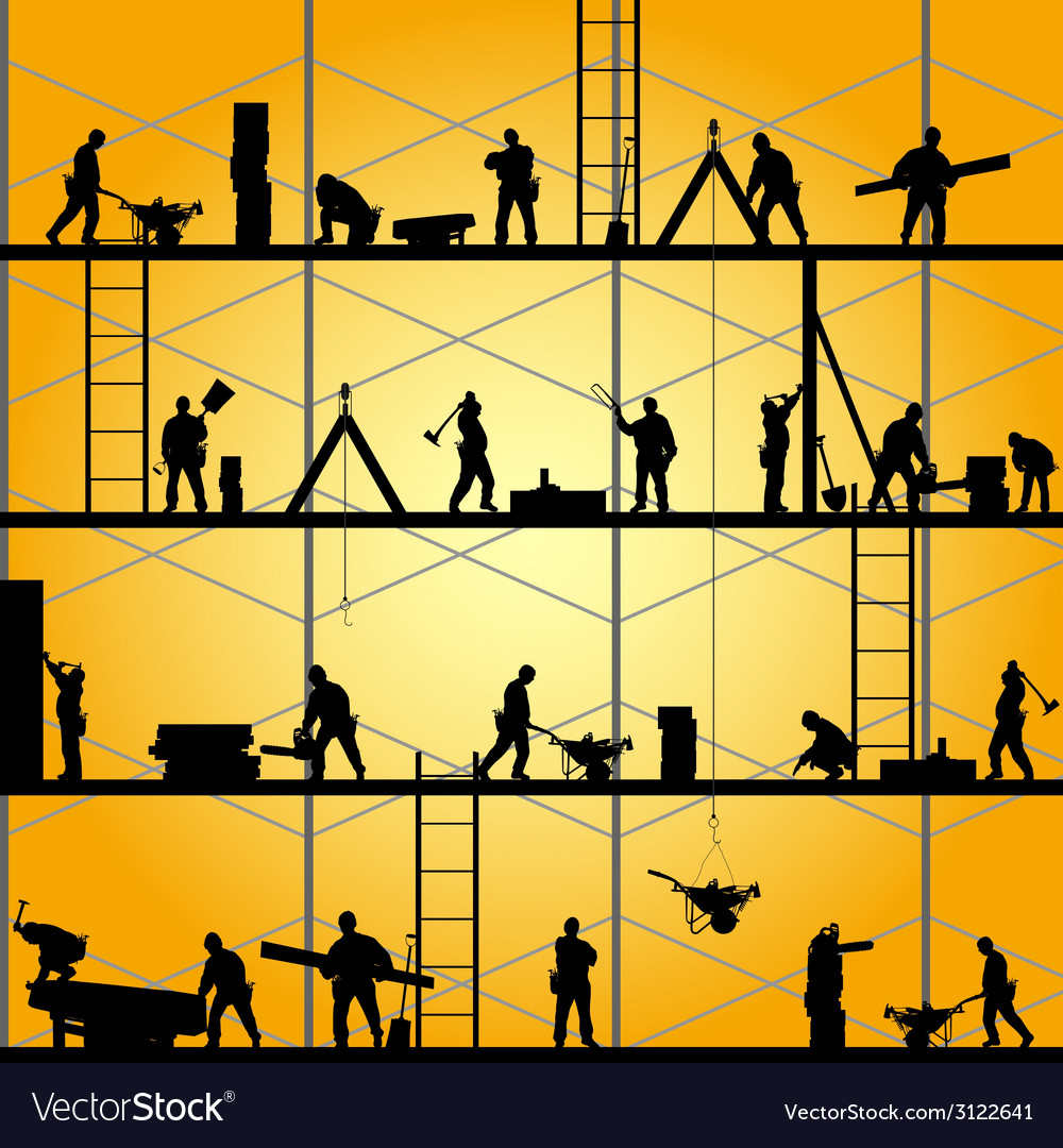 Construction worker silhouette at work vector | Price: 1 Credit (USD $1)