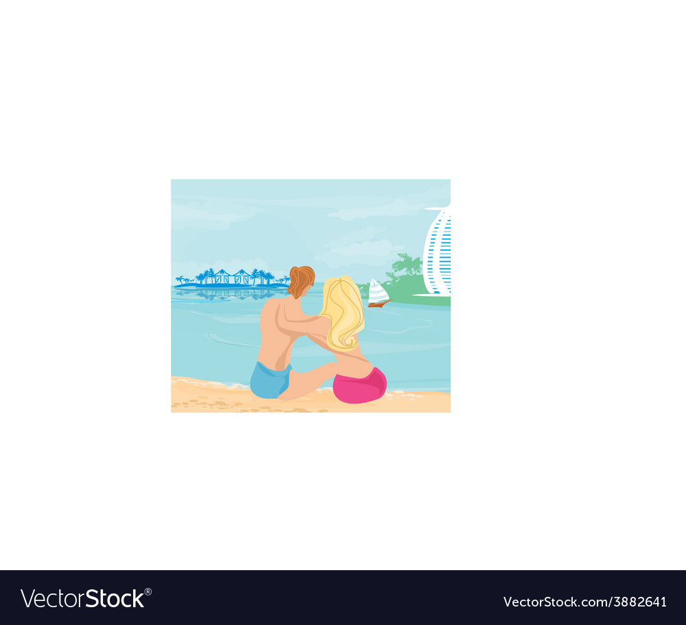 Couple on tropical beach vector | Price: 1 Credit (USD $1)