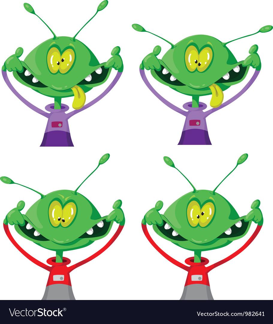 Crazy alien set vector | Price: 3 Credit (USD $3)