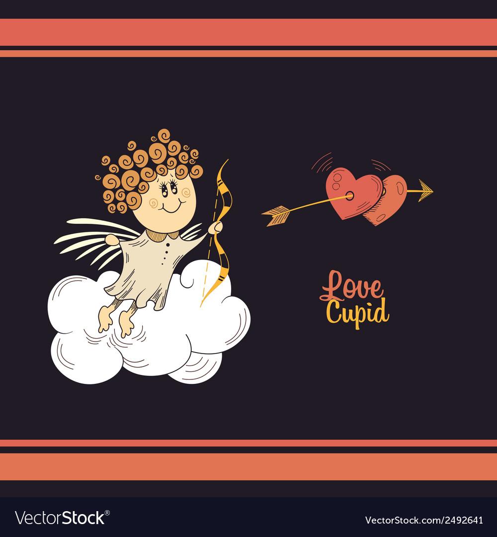 Cute cupid in the dark sky vector | Price: 1 Credit (USD $1)
