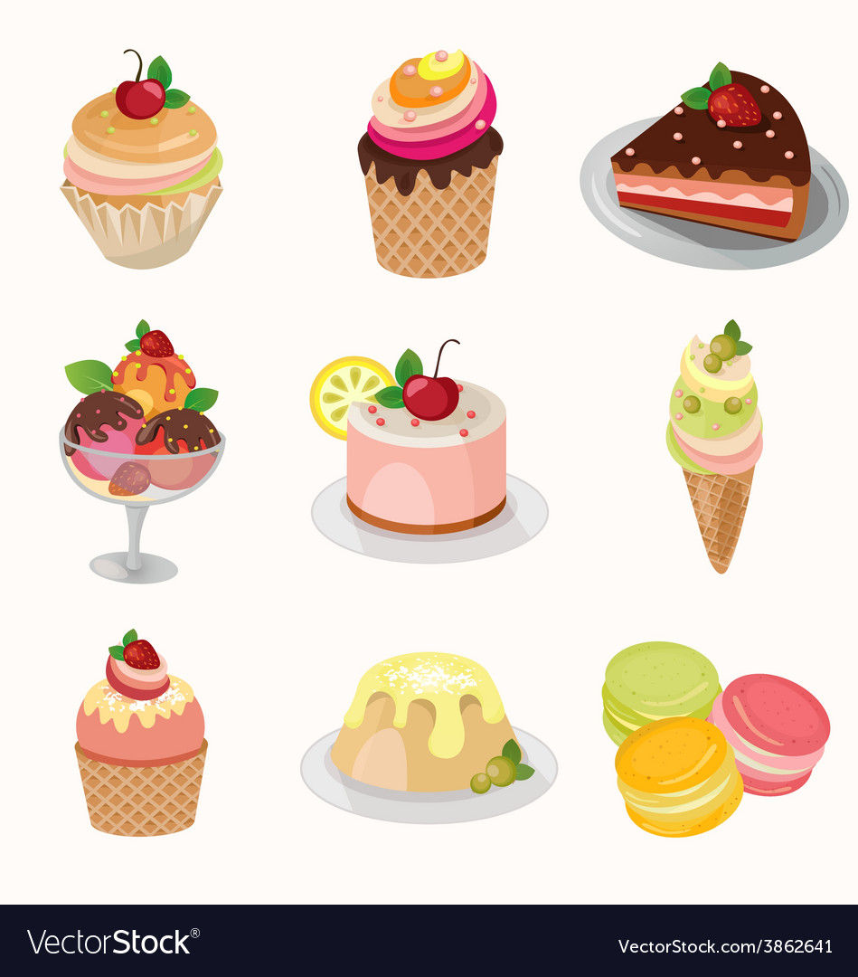 Different desserts with fruit vector | Price: 1 Credit (USD $1)