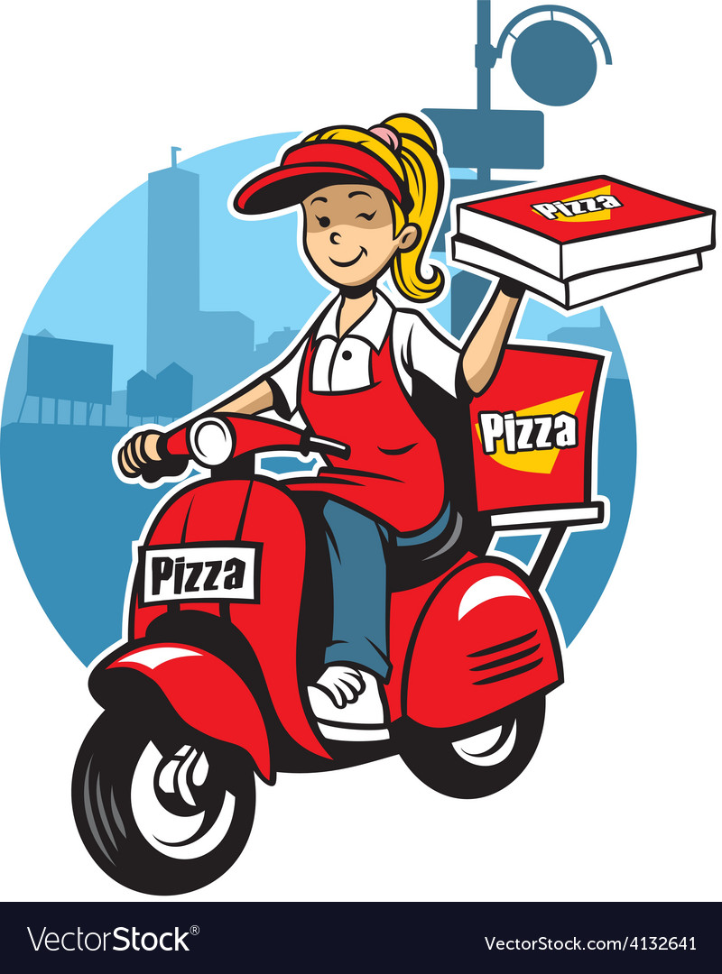 Girl as a pizza delivery service ride a scooter vector | Price: 3 Credit (USD $3)